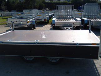 Przyczepa dwuosiowa Faro Magicus 300x150x35, DMC 750kg, koła pod platformą, burty ze sklejką